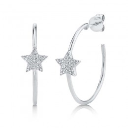 0.16ct 14k White Gold Diamond Pave Star Hoop Earring