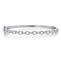 0.43ct 14k White Gold Diamond Link Bangle