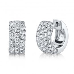 1.17ct 14k White Gold Diamond Pave Huggie Earring