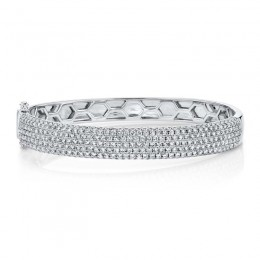 4.21ct 14k White Gold Diamond Pave Bangle