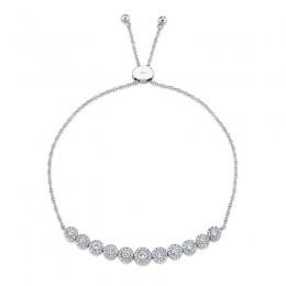 0.97ct 14k White Gold Diamond Bolo Bracelet