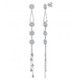 1.08ct 14k White Gold Diamond Star Earring
