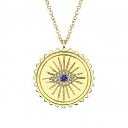 0.04Ct Diamond & 0.04Ct Blue Sapphire Eye Necklace