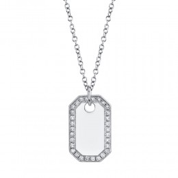 0.40Ct Diamond Dog Tag Necklace