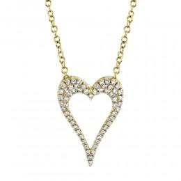 0.14Ct Diamond Open Heart Necklace