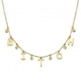 "0.08Ct Diamond ""Bitch"" Necklace"