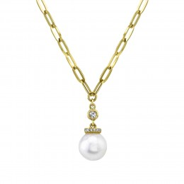 0.05Ct Diamond & Cultured Pearl Link Necklace