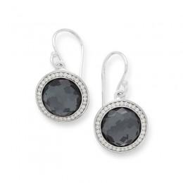 IPPOLITA Lollipop® 10mm Round Stone Earring in hematite with Diamonds