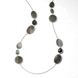 IPPOLITA Ondine Multi Shape Necklace in Rock Crystal-Hematite-Black Shell