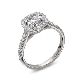 Eli Jewels Point of Love Cushion Halo Semi Mount with Side Diamonds