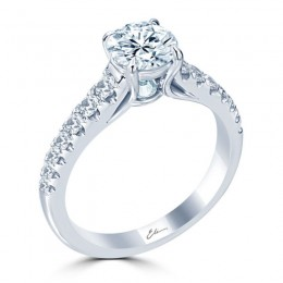 Eli Jewels Point of Love Round Center Semi Mount with Side Diamonds
