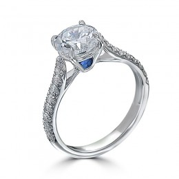 Eli Jewels Sapphire Point of Love Round Semi Mount with Side Diamonds