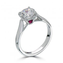 Eli Jewels Ruby Point of Love Round Semi Mount with Side Diamonds
