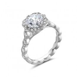 Eli Jewels Point of Love Vintage Round Semi Mount with Side Diamonds