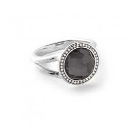 IPPOLITA Lollipop® Mini Ring in Hematite Doublet with Diamonds