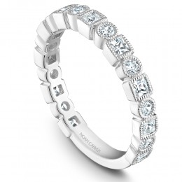 A White Gold Stackable Ring With 19 Round Diamonds. .31 Ctw Round And .50Ctw, Princess G/H, Si.