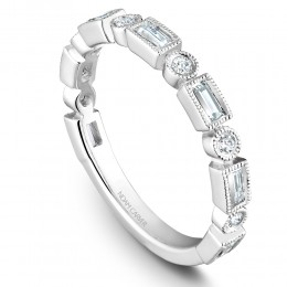 A White Gold Stackable Ring With 6 Round And 7 Baguette Diamonds, .09Ctw Round And .38Ctw Baguette G/H, Si